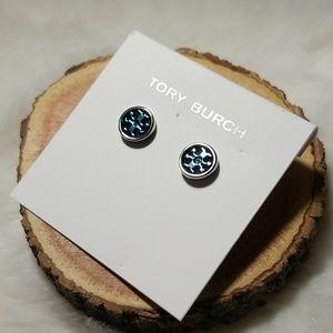 Tory Burch blue logo stud earrings